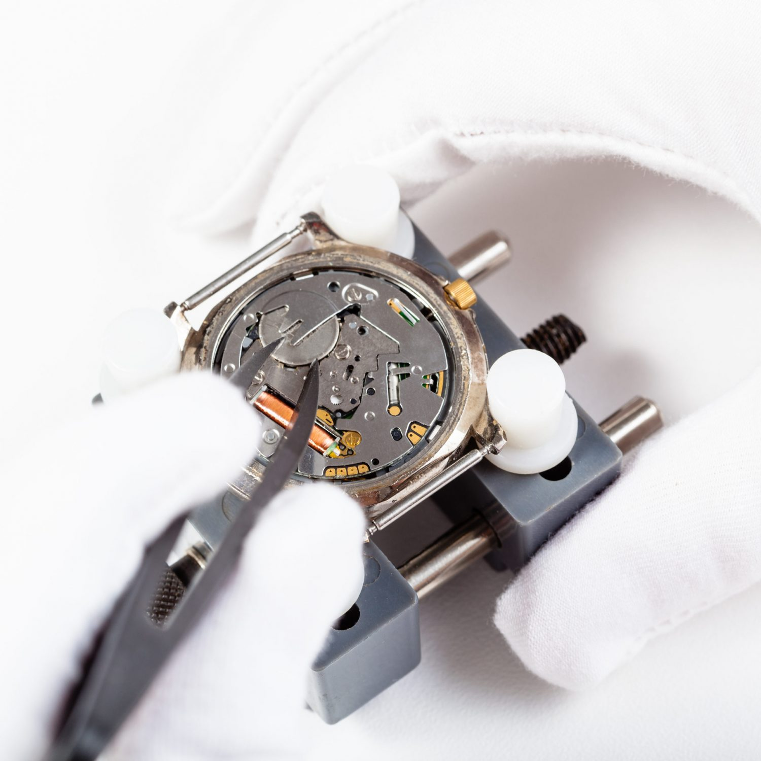 watchmaker workshop - replacing battery in quartz wristwatch close up by tweezers on white background